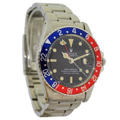 Rolex Stainless Steel GMT Master Pepsi Bezel Wristwatch
