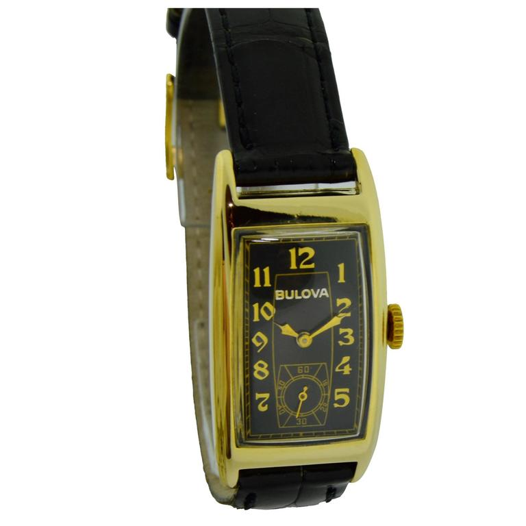 Bulova Yellow Gold Art Deco Style Manual Wind Watch  For Sale