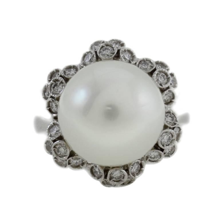Diamonds South Australian Pearl Gold Cluster Gold Ring