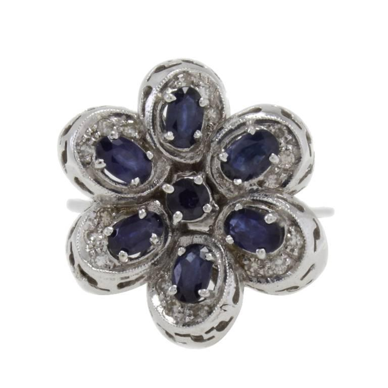 Luise Gold and Silver  Diamonds Blue Sapphires Gold Fashion Ring