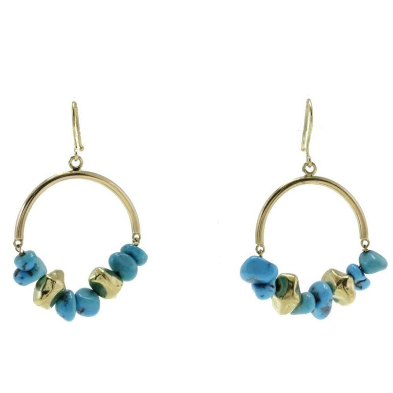 Turquoise Matrix Gold Hoop Gold Earrings