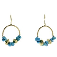 Turquoise Matrix Gold Hoop Gold Earrings