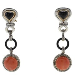 Diamonds, Onyx, Red Coral Buttons, Rose Gold and Silver Dangle Earrings