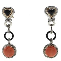 Diamonds Onyx Coral Gold and Silver Dangle Earrings