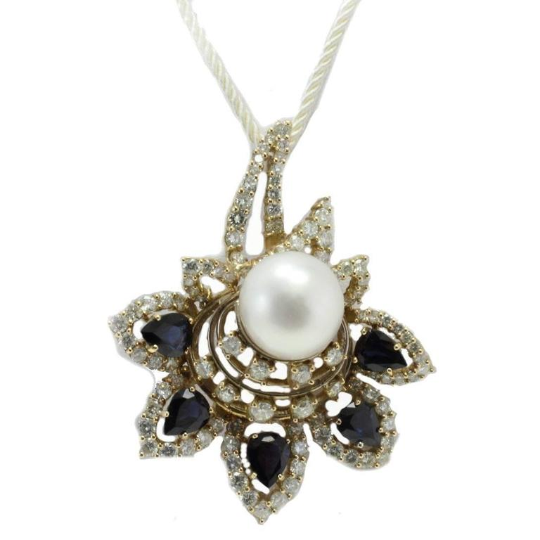 Luise White Diamonds Blue Sapphires South Sea Pearl Pendant Necklace