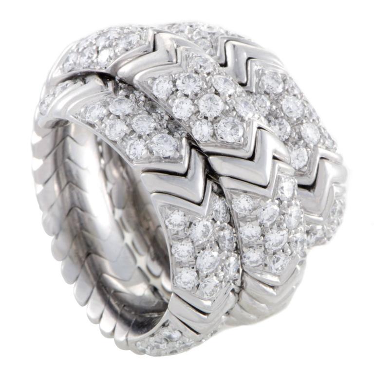 bulgari spiga diamond pave white gold band ring 1