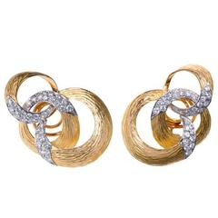 1970s Chaumet Gold and Diamond Ear Clips