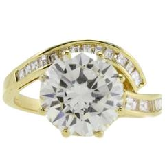 Luise Diamond GIA Certified 3.89 Karat  Yellow Gold Ring