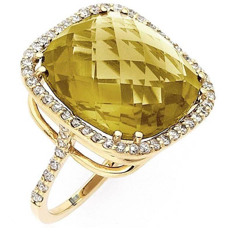 19 Carat Honey Citrine Diamond Ring