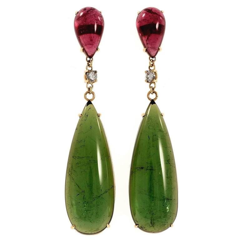 Peter Suchy Pear Shaped Pink Green Tourmaline Diamond Gold Dangle Earrings