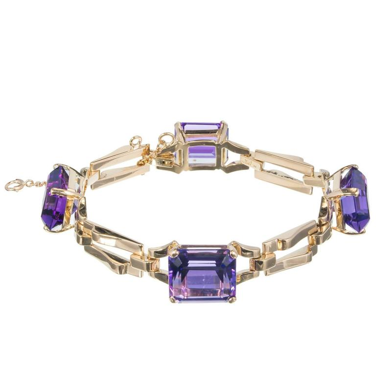 Tiffany & Co. Amethyst Yellow Gold Link Bracelet