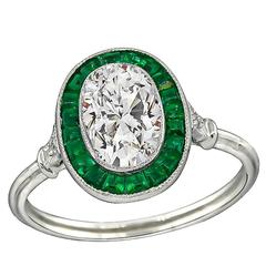 Stunning 1.31 Carat Diamond Emerald Engagement Ring