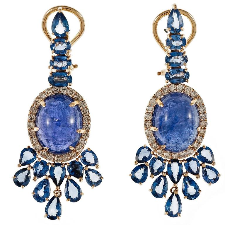 Tanzanite Sapphire Diamond Dangle Rose Gold Earrings 1