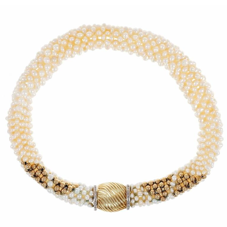 Freshwater Woven Pearl Diamond Gold Necklace For Sale