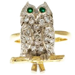 Diamond Pavé Emerald Gold Owl Cocktail Ring
