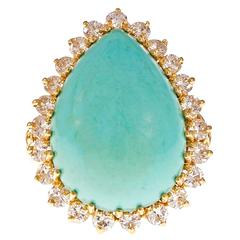 GIA Certified Natural Turquoise Diamond Halo Gold Cocktail Ring