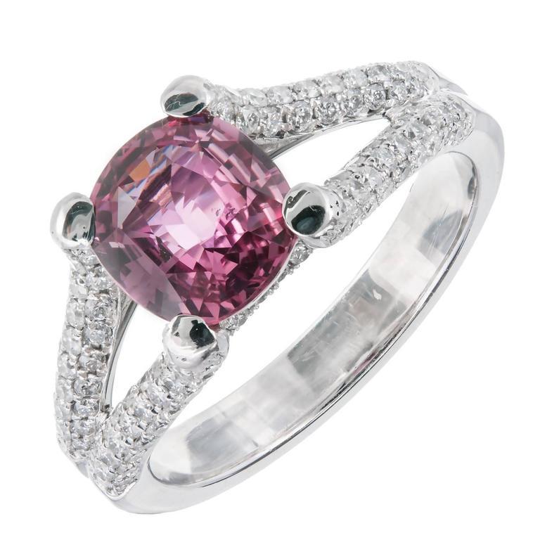 Peter Suchy GIA Certified Padparadscha Sapphire Diamond Platinum Engagement Ring