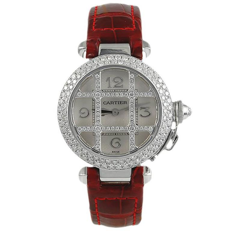 Cartier Ladies White Gold Diamond Pasha Automatic Wristwatch