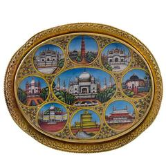 Antique Gold Indian Brooch with Hand-Painted Miniatures