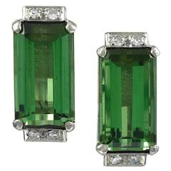 Pair of Rectangular Green Tourmaline and Diamond Earrings