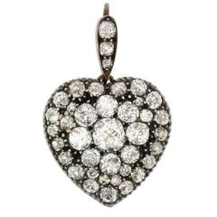 Victorian 3.60 Carat Diamond Heart-Shaped Locket, circa 1880s