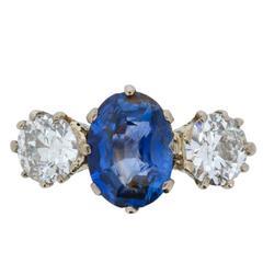 Art Deco Three Stone Sapphire and Old Cut Diamond Ring, circa 1920s