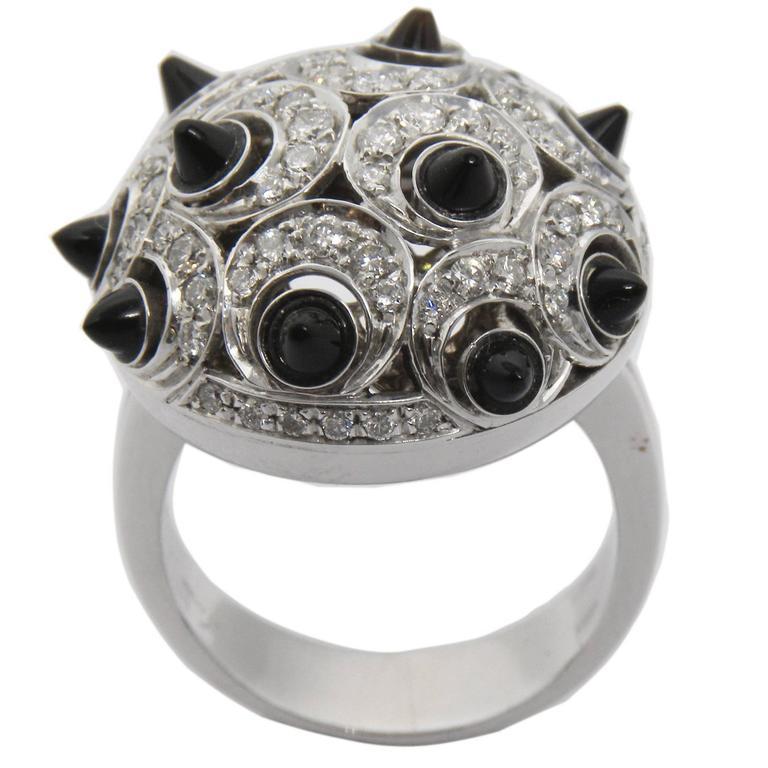 0.87 Carat White Diamond Onyx 18 Carat White Gold Setting Dome Ring