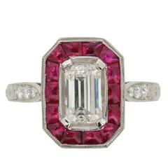 EDR Certified 1.10 Carat Emerald Cut Diamond and Ruby Halo Ring, circa 1950s