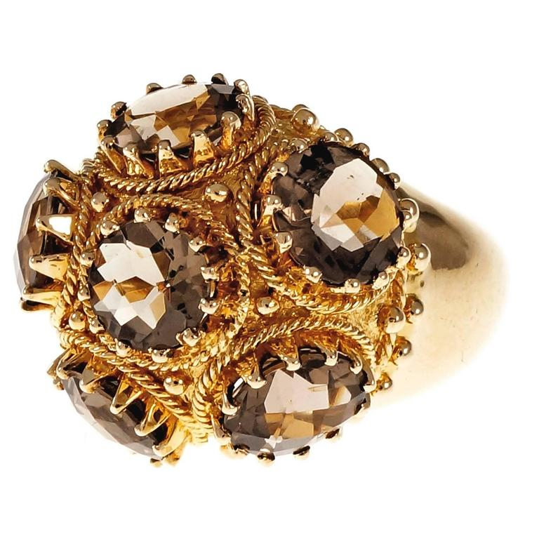 Smoky Quartz Domed Gold Cocktail Ring