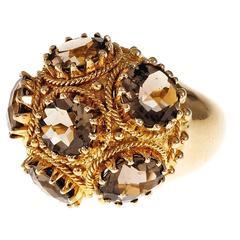 Smoky Quartz Domed Gold Cocktail Ring