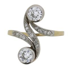 Edwardian 1.50 Carat Old Cut Diamond Twin Stone Ring, circa 1900s