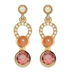 Nathalie Jean Diamond Tourmaline Coral Gold Articulated Earrings