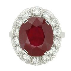 Vintage 7.91 Carat Ruby and Diamond Ring, circa 1950s