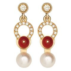 Nathalie Jean 0,21 Carat Diamond Pearl Coral Rose Gold Drop Dangle Earrings