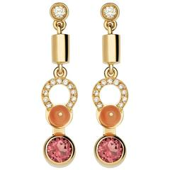 Nathalie Jean Diamond Tourmaline Coral Gold Articulated Drop Dangle Earrings