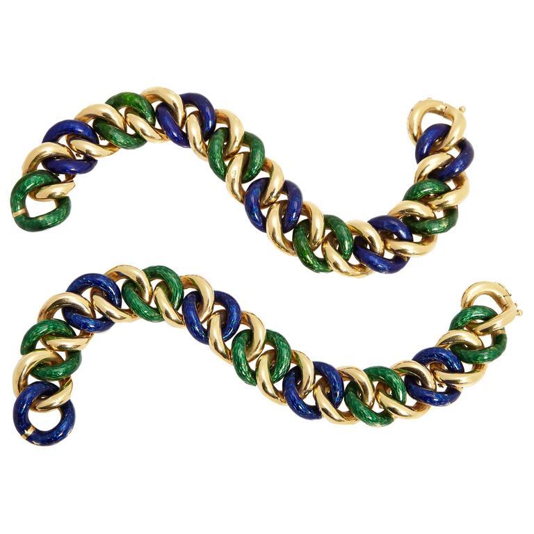 Enamel and Gold Bracelets
