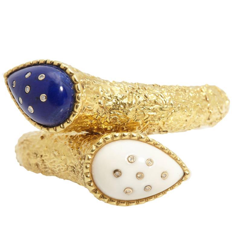 Gold Lapis White Coral Bracelet