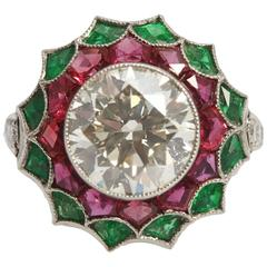 3.42 Carat Diamond Emerald Ruby Ring