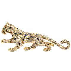 Cartier Paris Panthere Diamond Sapphire Brooch