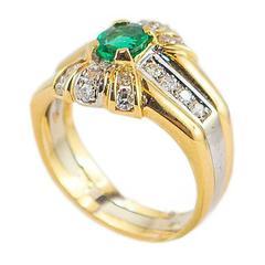 0.49 Carat Oval Emerald Diamond Gold Cocktail Ring