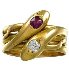 Antique Diamond and Ruby Double Headed Snake Ring