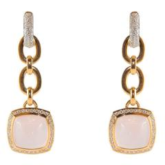 Pink Quartz Gold Art Nouveau Style Dangle Earrings