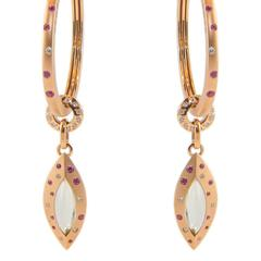 Pink Sapphire Quartz 18 Karat Rose Gold Diamond Hoop Drop Earrings