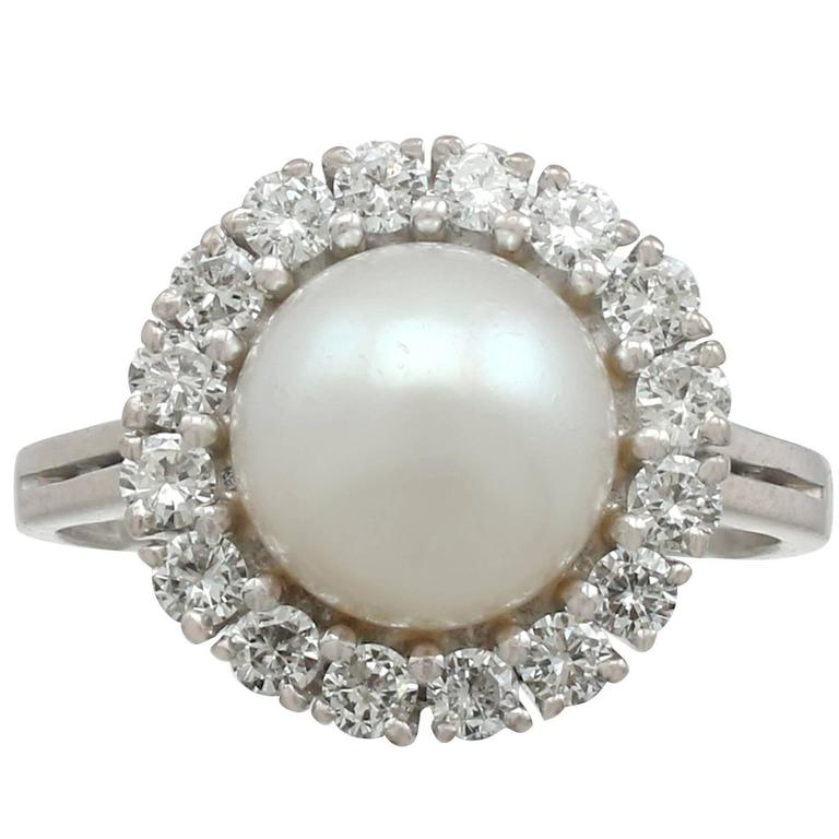 1960s Cultured Pearl and Diamond White Gold Ring