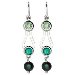 Nathalie Jean Emerald Tourmaline Pearl Gold Articulated Earrings