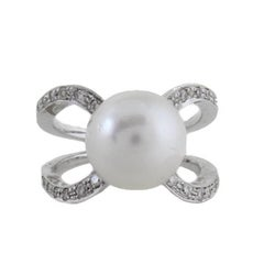 White Diamonds South Australian Pearl Cluster Ring