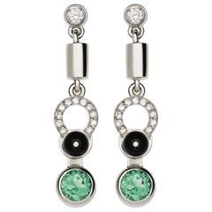 Nathalie Jean Diamond Tourmaline Onyx Gold Articulated Earrings