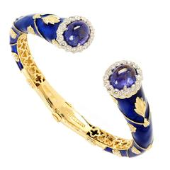 Stambolian Enamel Tanzanite Diamond Gold Bangle Bracelet