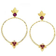 Stambolian Magenta Garnet Diamond Gold Enchanted Garden Earrings