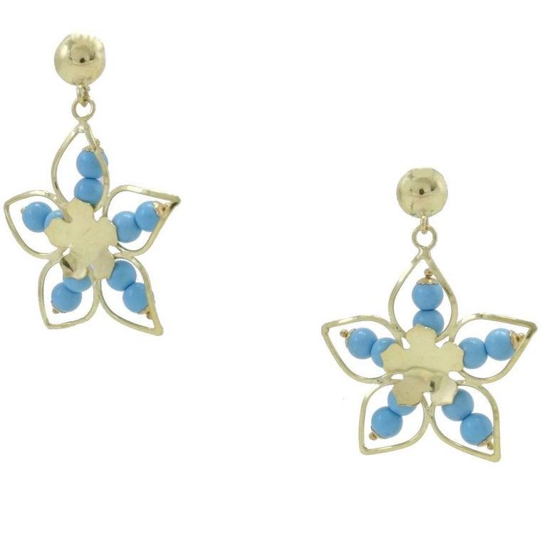 18 kt Gold Dangle Earrings For Sale